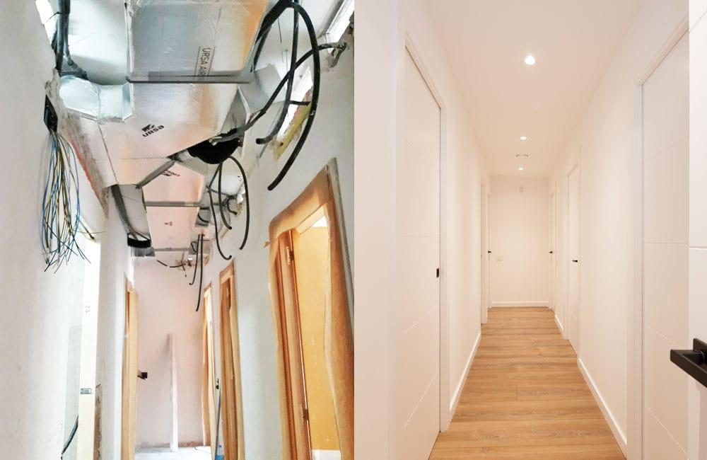 Falso techo pladur ocultar instalaciones electricidad y clima