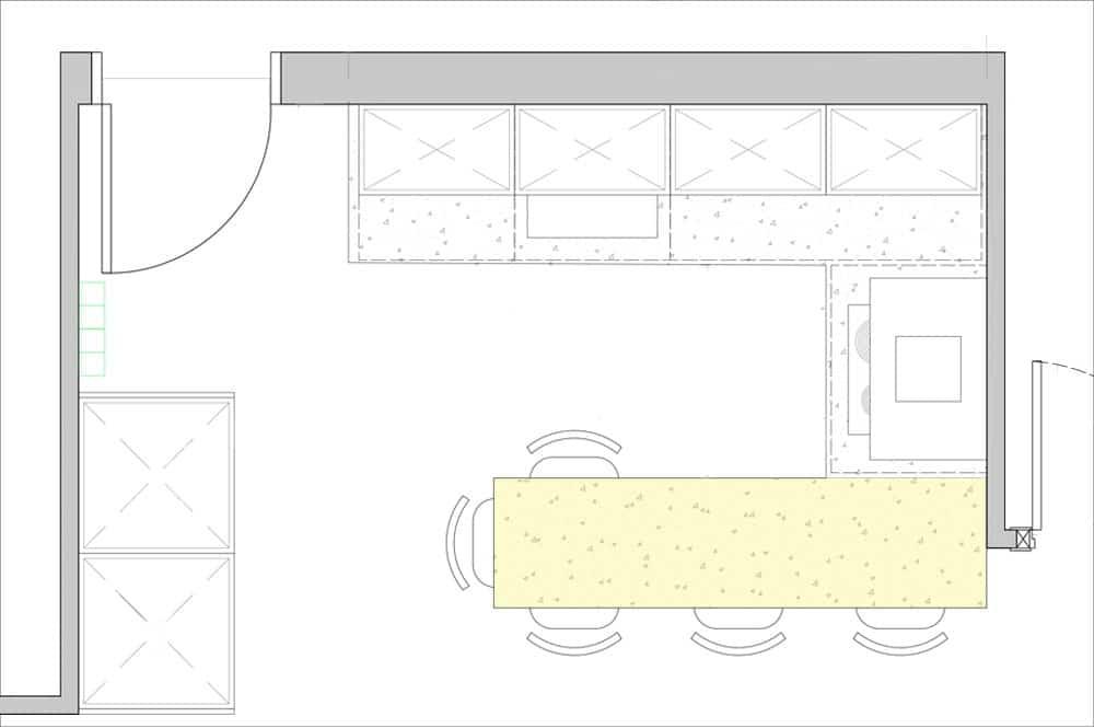 Detalle esquema península de cocina con zona de trabajo y barra comedor con taburetes.