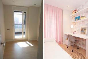 Antes y después proyecto de mobiliario y decoración piso obra nueva Forum Barcelona - Sincro