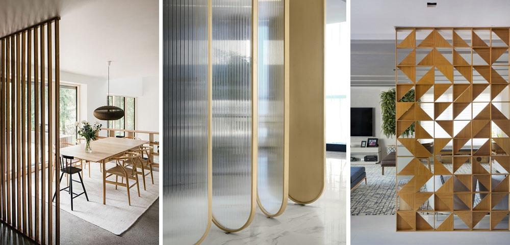 Panells decoratius per dividir espais en interior d'habitatges.
