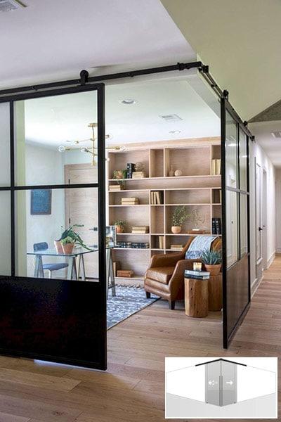 Puertas correderas esquina separar despacho pasillo.