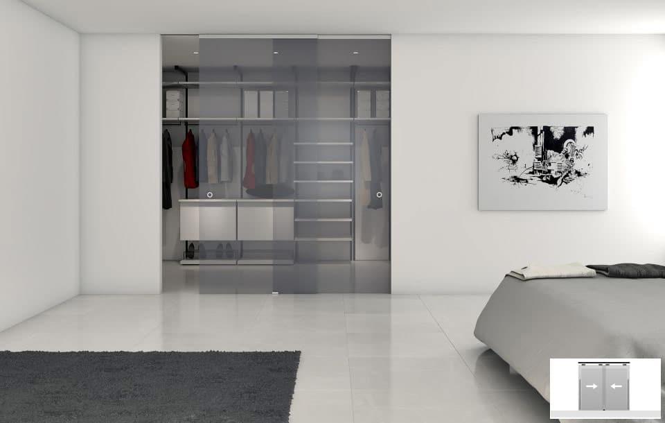 Render 3D amb vestidor amb portes corredisses paral·leles.