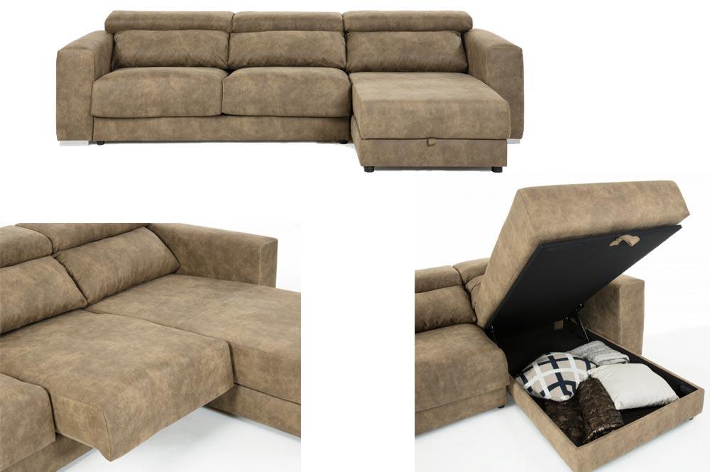 Sofà chaise longue de Kave Home ergonòmic i amb espai d'emmagatzematge