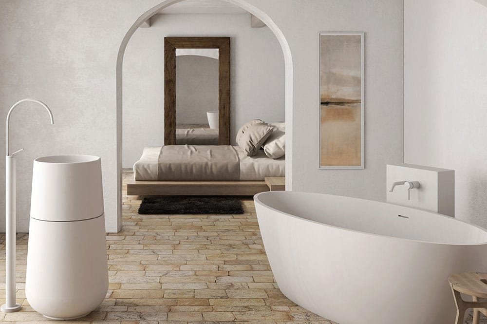 Render 3D d'un dormitori tipus suite amb banyera independent