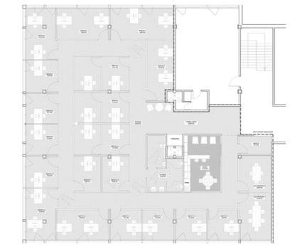 Plano de la planta de la oficina Fincas Blanco