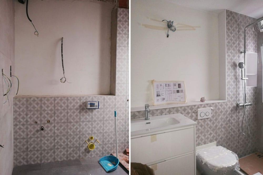 Obra de baño para instalación de inodoro suspendido