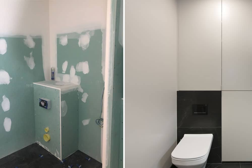 recrecimiento pared con pladur inodoro suspendido