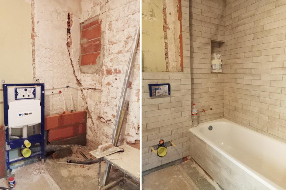 Reforma baño: inodoro empotrado y bañera