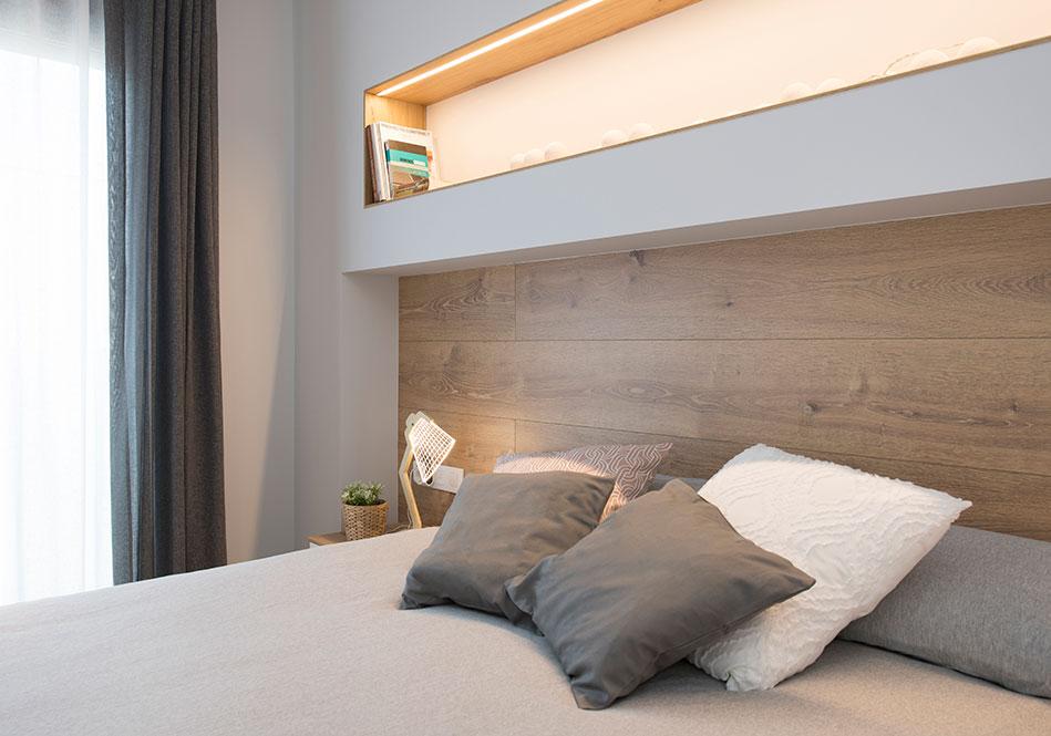 Cabecero de cama construido con pladur