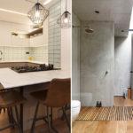 Parquet instalado en una cocina y baño moderno