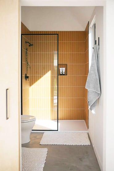 baño con la zona de ducha con otro color