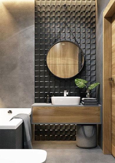 Baño oscuro que combina el negro con diferentes texturas y madera.