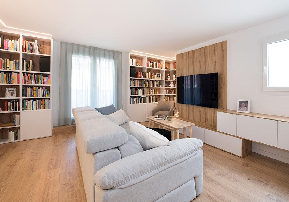Zona de Tv y relax salón. Estilo nórdico