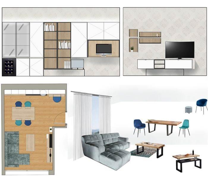 Proyecto de mobiliario y decoración en salón. Plano en planta y alzados. Sincro