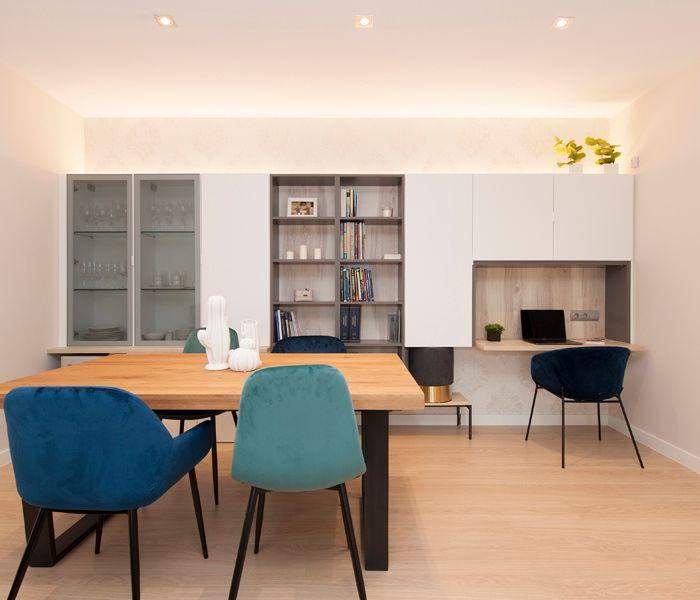 Muebles de comedor, salón y estudio. Proyecto de mobiliario y decoración Sincro.