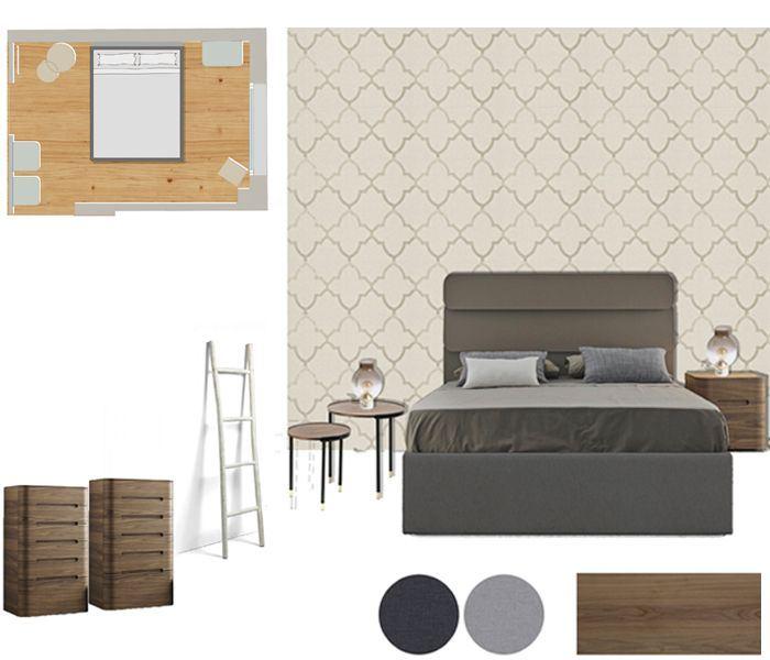Lámina proyecto de mobiliario y decoración de un dormitorio principal con papel pintado. Sincro.