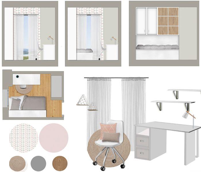 Lámina proyecto de mobiliario y decoración dormitorio juvenil chica
