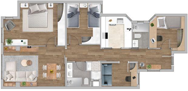 Plano diseño distribución interior con texturas realizado por Sincro