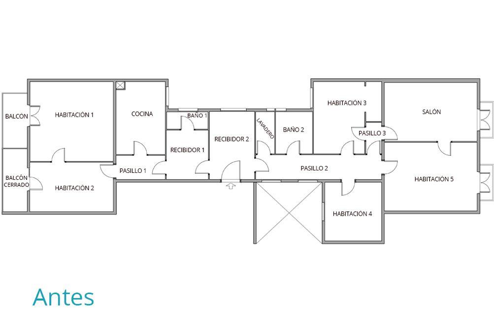 Plano de distribución antes de reformar el piso