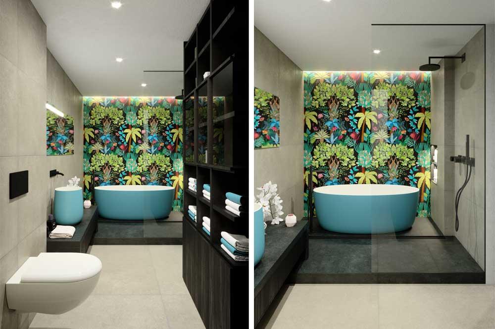 Render baño moderno en suite con bañera exenta