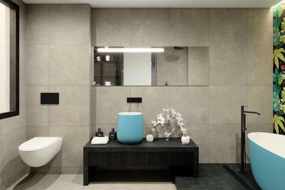 Render lavabo sobre encimera de color fúcsia y inodoro suspendido. Diseño: Sincro // Render Tu casa en 3D