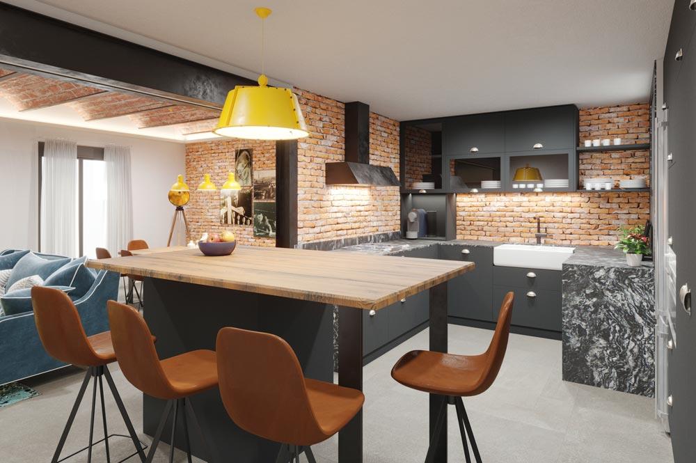 Render 3D cocina de estilo industrial contemporáneo. Sincro // Render Tu casa en 3D
