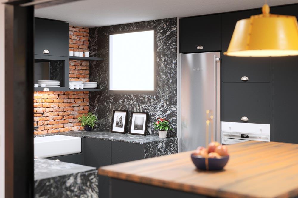 Render cocina con superficies de trabajo y mobiliario oscuro. Sincro // Render Tu casa en 3D