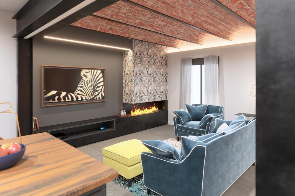 Render zona del televisor con chimenea de gas. Sincro // Render Tu casa en 3D