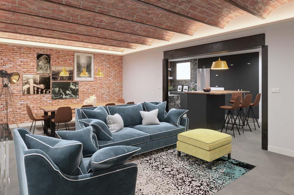Render 3D estilo industrial semi abierto. Sincro // Render Tu casa en 3D (Barcelona)