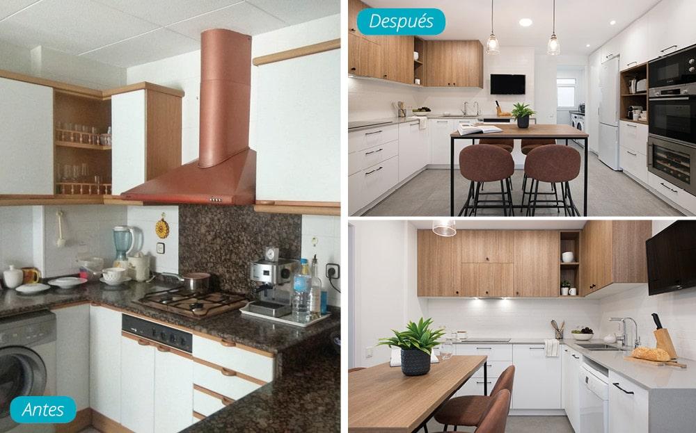 Antes y después reforma cocina con acabados en blanco y madera. Mesa alta con taburetes