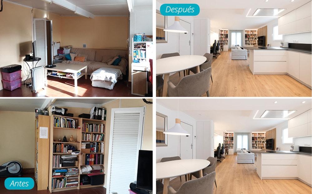 Antes y después salón de estilo nórdico. Reforma de piso Les Corts de Barcelona.