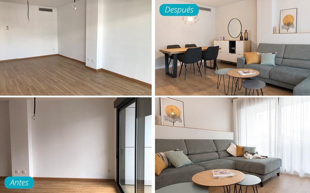 Antes y después salón con mobiliario piso obra nueva. Estilo nórdico