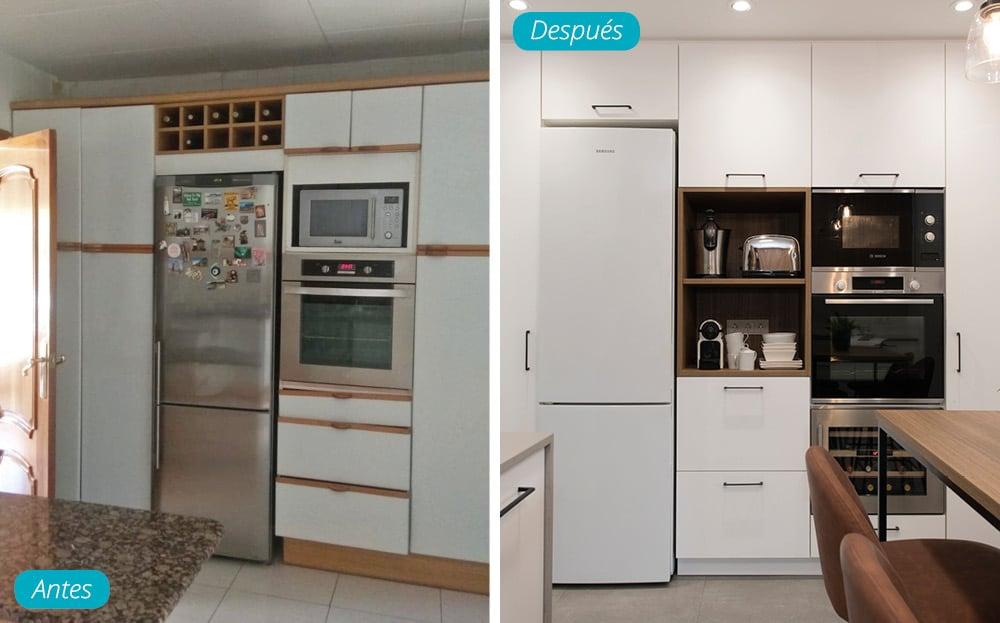 Antes y después armarios columna cocina en acabado blanco y almacenamiento electrodomésticos.