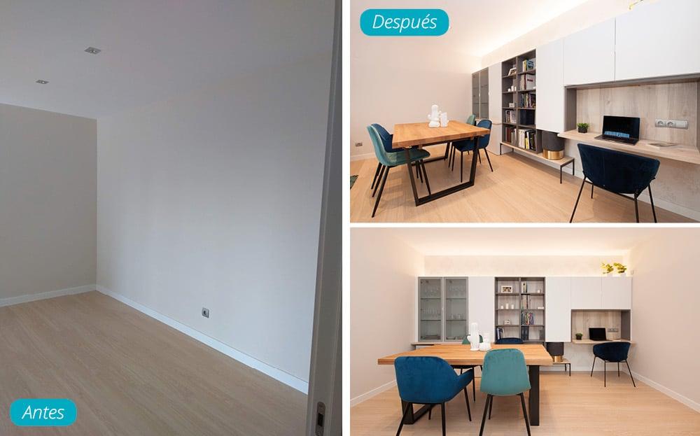 Antes y después comedor amueblado piso obra nueva en Barcelona
