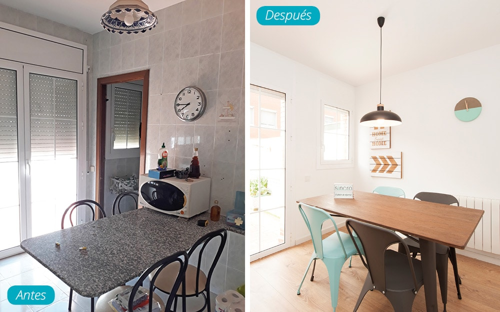 Antes y después reforma y mobiliario comedor