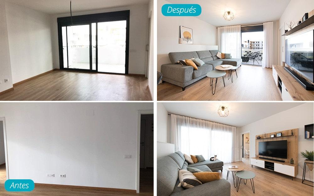 Antes y después zona de tv del salón mobiliario en piso de obra nueva. Estilo nórdico