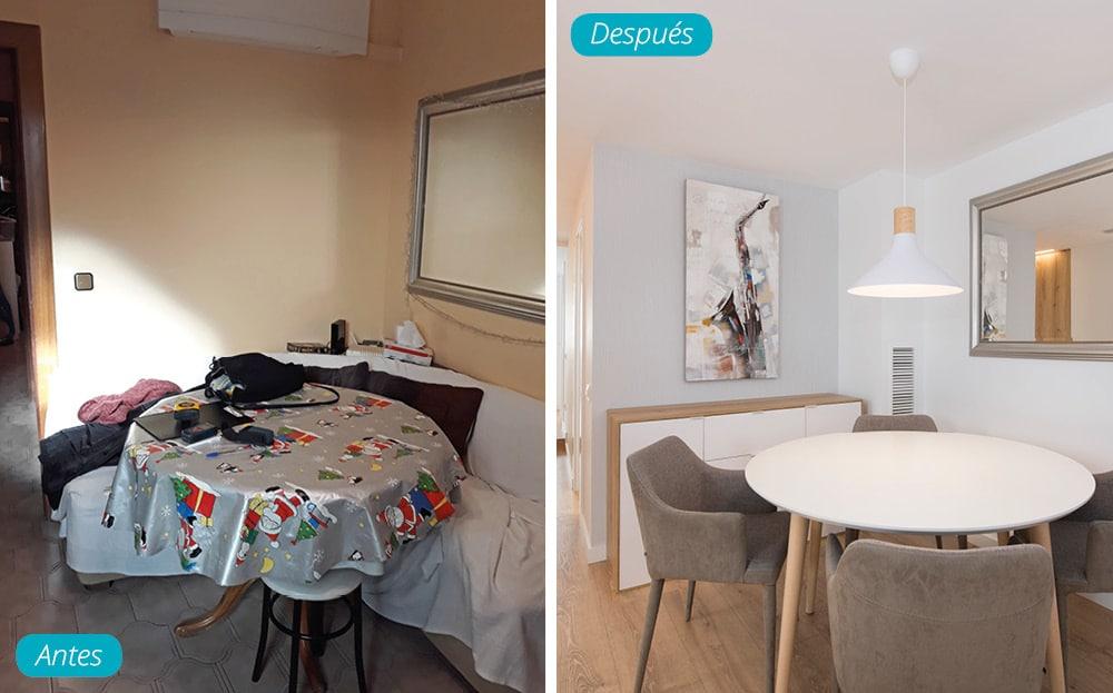 Antes y después comedor de estilo nórdico con mesa redonda y lámpara colgante. Proyecto Sincro (Barcelona)