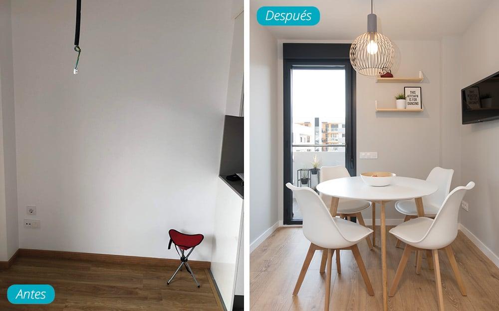 Antes y después rincón de comedor en cocina. mobiliario y decoración piso obra nueva.