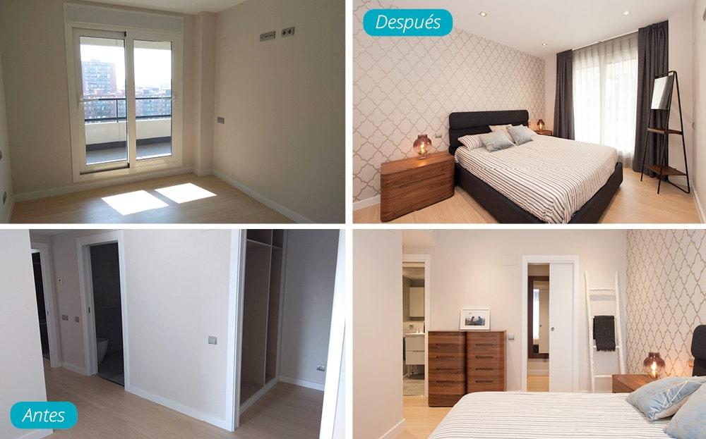 Antes y después dormitorio principal amueblado en piso de obra nueva en Barcelona. Interioristas Sincro.