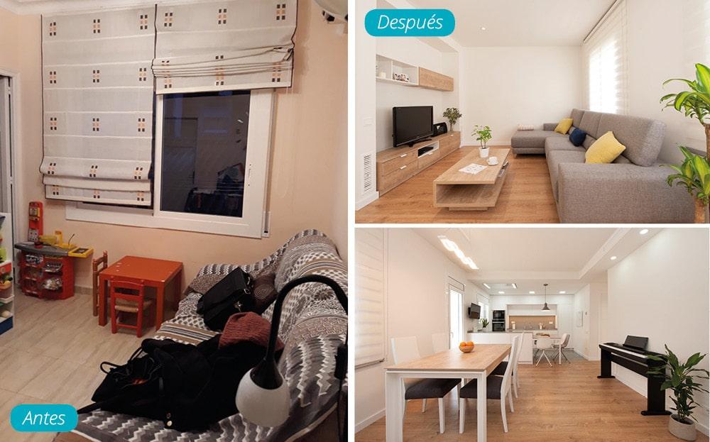 Antes y después salón con cocina abierta. Zona de TV y comedor