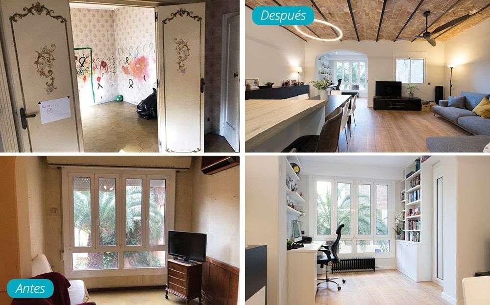 Antes y después reforma salón con techo en bóveda catalana. Sincro (Barcelona)