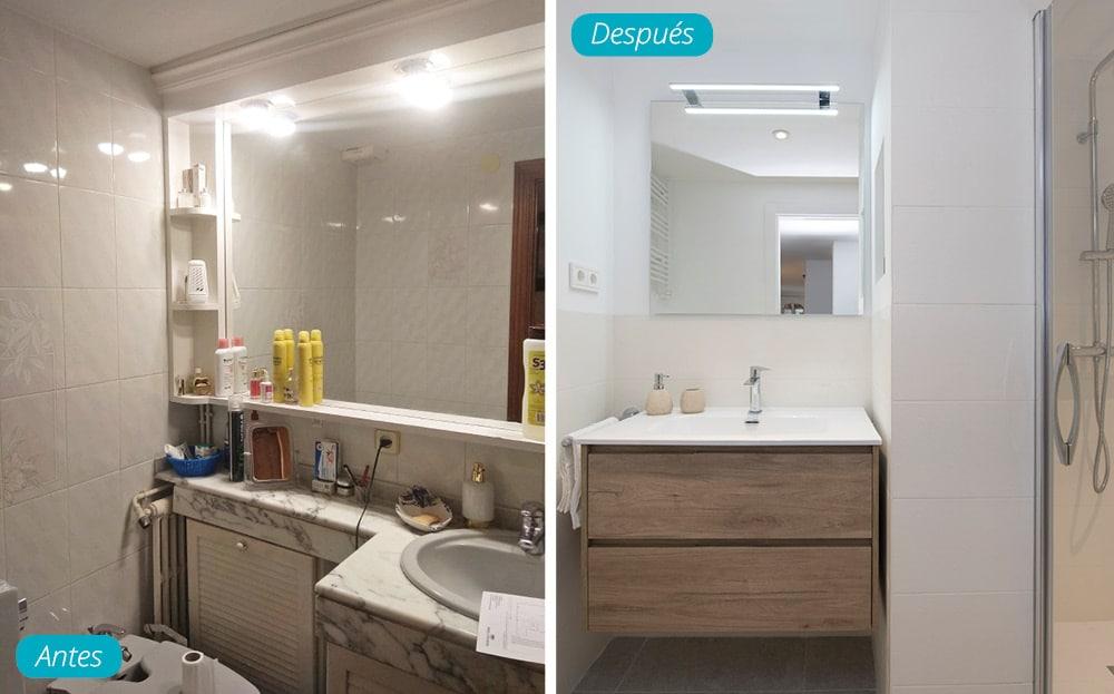 Antes y después lavabo moderno