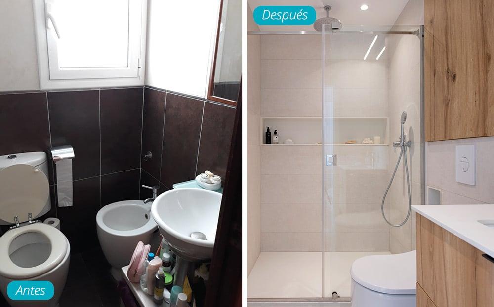 Antes y después reforma baño de estilo nórdico con tonos claros y madera. Sincro (Barcelona)