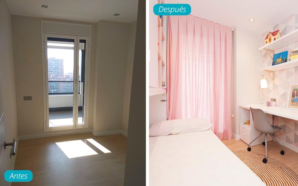 Antes y después dormitorio juvenil chica amueblado en piso obra nueva. Tonalidades rosas.