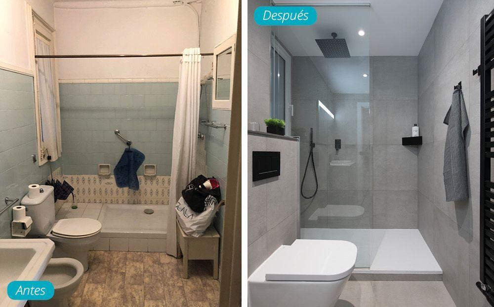 Antes y después baño moderno en gris, negro y blanco. Reforma Sincro.