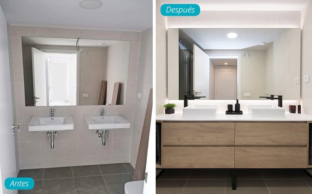 Antes y después mueble lavabo en piso obra nueva. Acabado madera, encimera blanca y grifería en negro.