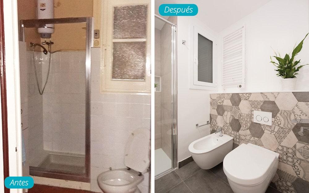 Antes y después zona de inodoros