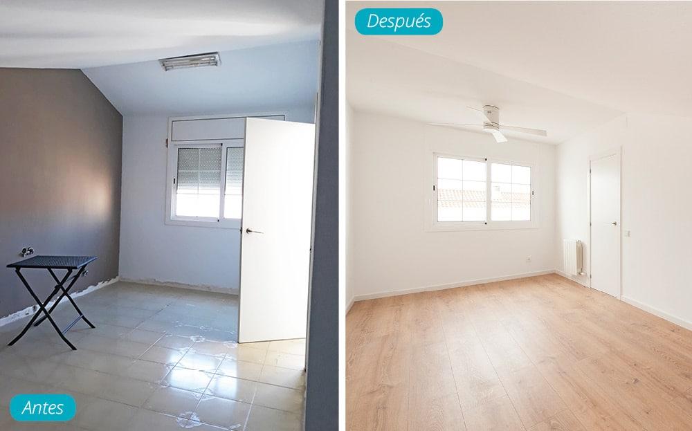 Antes y después buhardilla reforma de casa con parquet y pintura