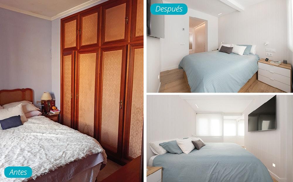 Antes y después dormitorio doble con vestidor. Reforma realizada por Sincro (Barcelona)