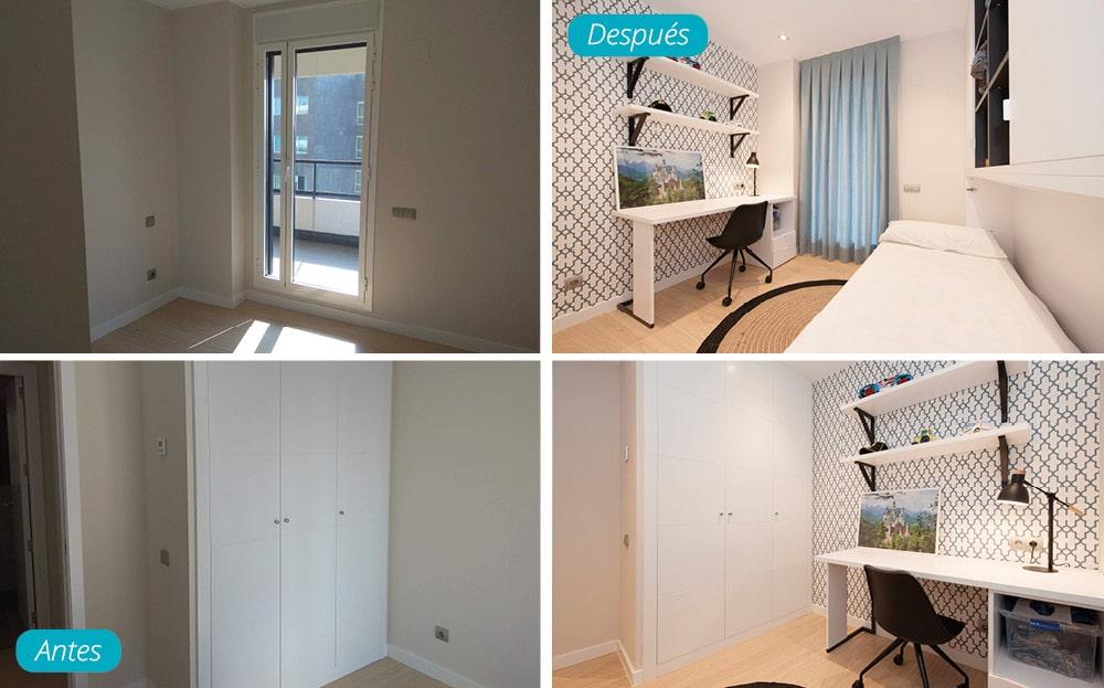 Antes y después dormitorio juvenil chico amueblado. Tonalidades azules.